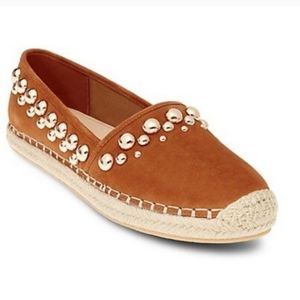 Brian Atwood Studded Brown Suede Espadrilles Sz 9